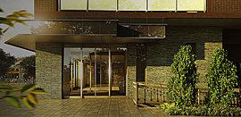 シンプルな落ち着きのあるシャープなデザインの外観と、住まう方を優しく優雅にお迎えするエントランスがその先に広がる上質な日々を容易にイメージさせる迎賓空間です。