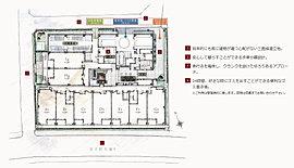 三方を道路に囲まれた立地を活かし、共用廊下を敷地の内側に配置することで、セキュリティを向上。隣接する建物との距離にも配慮し、都心でも穏やかに過ごせる住環境をプランニングしました。