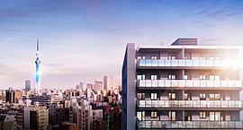 ※現地12階相当の高さより平成27年7月に撮影した眺望写真に、完成予想CGをCG合成・加工。眺望、景観は各階・各住戸により異なり、将来にわたって保証されるものではありません。(完成予想CGは、平成27年12月時点のものです。)