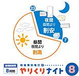 「やりくりナイト8」は「夜11時から翌朝7時まで」の割安な夜間時間帯(8時間)の電気を上手に利用する料金メニューです。