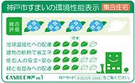 建築主が神戸市に提出する建築物総合環境計画書によって、CO2削減など4つの項目に対する取り組み度合いと建築物の環境性能を総合的に5段階で評価