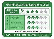 建築主が京都市に提出する建築物環計自書によって、建築物の長寿命化などの3つの項目に対する収り組み度合いと建築物の環境性能を総合的に5段で評価