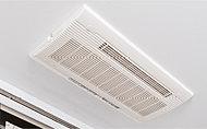 夜間や雨の日のお洗濯、入浴前の予備暖房などに重宝する、浴室換気暖房乾燥機を設置。