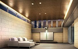 格調高いひとときを愉しむ、端正なエントランスホール。落ち着いた表情を描く壁面から天井へと、広々とした空間が迎えるエントランスホール。間接照明が光を投げかけ空間を優美に包みます。