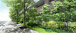 色鮮やかな緑と四季がつつむ、住環境のデザイン。これから未来へ時とともに成熟していく木々を眺める歓び。四季を身近に感じる楽しさ。南・東・西の3方が街路に接した開放性の高い敷地を活かして、その周囲を豊かに緑化し、新たな景観を創出。