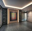 琳派の意匠を想わせる箔ガラスを壁面に用いた風除室からエントランスホールへ。そこは豊かな自然の風合いを伝える御影石でフロア・壁面を装った空間。