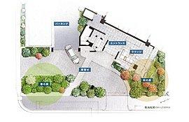 マンションの入り口近くには、たっぷりの植栽計画を施します。公道の並木道に接する「春の森」には、周囲を彩る高木の花樹を。ラウンジに面した「秋の庭」には、やすらぎを演出する低木を中心に植えられます。