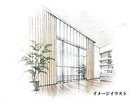 カーテンボックスを天井の際に隠れるように設置し、窓側の視野をスッキリとさせました。開放的な空間を目指したデザインです。