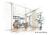 リビング・ダイニングスペースと隣接する洋室とのドアに、床から天井までの高さを持たせた壁のようなドアを採用。開けば開放的な大空間が出現します。
