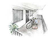 全39戸中26戸に戸建て感覚の玄関ポーチを設計。ゆとりあるプライベートスペースを確保しました。