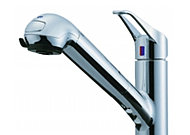 蛇口の先端に浄水器を内蔵したシャワー水栓。節湯対応水栓で光熱費のムダをな くします。
