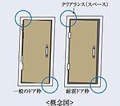 地震時に玄関扉の枠が歪んでも、枠を扉の間に設けた隙間によって扉の開放を容易にする耐震ドアを採用。戸外へ出やすくしました。