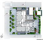 北、南、西の三方接道の角立地。敷地に接する道路幅が広く、周辺の建物まで余裕を感じられる配棟計画とし、 道路からもセットバックした設計で、周辺への圧迫感低減に配慮しています。