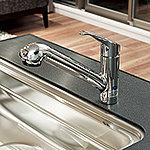 シャワーノズル式ビルトイン浄水器水栓を採用。エコカラン機能で節水効果もプラスしました。