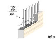 建物の主要な床や壁は、コンクリート内の鉄筋を二重に組むダブル配筋としています。