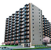 南面・東面の二棟構成、地上11階建ての外観。立体的に大きく張り出したバルコニーの意匠は、リズミカルで開放的な暮らしをイメージさせます。街並に馴染みながら個性を表現したそのフォルムは、街の中心エリアに建つランドマークとしての印象度を高めます。
