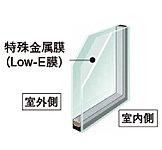 特殊金属膜の効果で一般複層ガラスの約1.5倍の断熱効果を発揮。太陽熱を取り込みながら、室内の熱を逃しません。