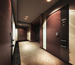 プライバシー性と高級感を兼ね備えたホテルライクな内廊下設計で優雅な空間を演出します。