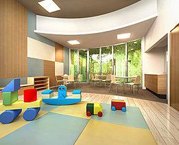 「ママズコーナー&キッズスペース」は、子育て家族を育む憩いの空間。雨で外に出かけられない時も、のびのびと遊ぶことができるスペースです。ここにはラウンジスペースもあるので、ママ同士で、おしゃべりしながら子どもたちを見守ることができます。