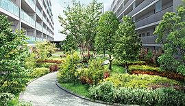 暮らしの新しい歓びとなるオアシスガーデン。ソメイヨシノなどのシンボルツリーと約40種類もの草花で四季の豊かな表情を体感できます。