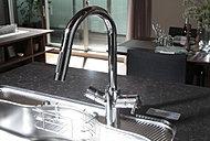 浄水機能付きで、ワンハンドで引き出せるキッチンシャワーヘッドも備えています。※浄水器カートリッジは定期的な交換が必要です。(有料)