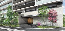 邸宅の領域を主張する端正な表情。界隈の景観資産となる瑞々しい季節の彩り。街の景色としても価値を宿す品格あふれる表情。姫島浜公園から続く緑陰のつながりの中に、エントランスアプローチを配置し、訪れる方を軽やかにお出迎えします。