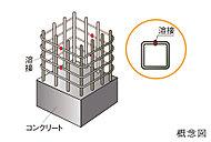 柱内に組み込む鉄筋には、つなぎ目をなくしコンクリートの拘束性を高める溶接閉鎖型帯筋を採用しています。※基礎部、仕上部を除く