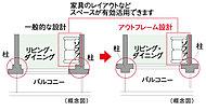 躯体柱を室外に出したアウトフレーム工法を採用しました。柱型が室内に出ないため、部屋をすみずみまで利用することができます。※主開口部側のみ。