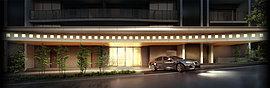 優美に広がる重厚な庇と石畳の車寄せが美しいシーンを演出するアプローチ。庇の間接照明からこぼれるエレガントな灯が住まう人、訪れる人を包み、気品ある表情とともに人々を温かく迎えます。