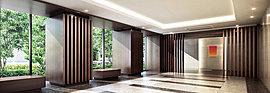 ホテルライクで開放感あふれる空間。ガラス越しに潤いある緑の風景が広がり、迎賓のひとときを演出。ゆとりに満ちた上質の時間がここにある。
