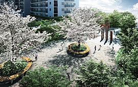 桜を中心に深き森を設えた「森のパーク」。中高木を中心にした姿の良い木々が緑の潤いを演出。