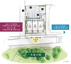 【1】電動シャッターゲート(専用リモコン付) 【2】自転車置場 【3】バイク置場 【4】駐車場