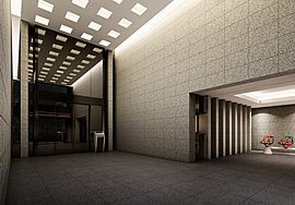 2層吹抜の開放感に加え、オートドアの反射が織りなすゆったりとした奥行き。荘厳な品格が生み出すのは、住宅建築の枠を超えた一つの芸術。