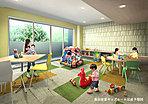 建物内には、お子さまを安心して遊ばせることのできる集会室兼キッズルームが設けられています。雨の日でも、お子さまを屋内で伸び伸びと遊ばせることができるので、子育てにも余裕が生まれます。