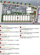 三方接道の敷地を活かした南向き中心のランドプラン。京王線「東府中」駅徒歩4分という立地の良さに加え、独立性の高い三方道路の角地に誕生。東西に伸びるゆとりある敷地を活かし、南向き中心※1の住居をプランニング。。