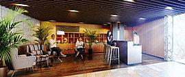 エントリー空間のその奥に広がるのは、カウンターキッチンのある「リゾーティアホール」。カフェ気分での朝食や様々なコミュニティサポートを演出します。