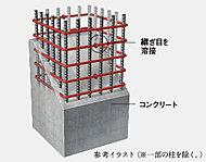 柱部分のコンクリート内部の帯筋には、つなぎ目をなくした溶接閉鎖型帯筋を採用。
