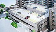 ※総戸数188戸に対して、自走式173台〈1・2階は屋内〉、屋外平地式16台、専用カースペース8台。(全て賃貸)