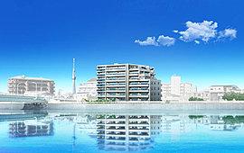 ※この絵図は図面を基に描き起こした完成予想図と中川の写真(2015年8月撮影)をCG処理により合成したもので、実際とは多少異なります。なお、中川の写真にも一部CG処理をしております。