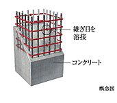 柱のコンクリート内部の帯筋には、つなぎ目をなくした溶接閉鎖型帯筋を主に採用。