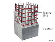 柱内部の帯筋には、つなぎ目をなくした溶接閉鎖型帯筋を主に採用。※柱の一部を除く。