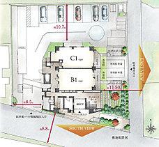 東南角地の約1,100m2にも及ぶこの敷地に建築面積約330m2、ワンフロア3住戸という贅沢な配棟プランを実現しました。人車分離のランドプランは安心できる設計です。