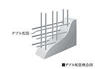 鉄筋を格子状に組み上げる工程で、耐震壁の鉄筋をダブル配筋としています。シングル配筋に比べて高い強度と耐久性を実現します。
