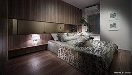 やすらぎが満ちてゆく、メインべッドルーム。落ち着いた木調でまとめられた主寝室は、穏やかに流れる時が安寧へと誘い、心地よい目覚めを促す空間。安らかな眠りを演出するゆったりとした設計が、ここで過ごす時間をさらに深めてくれます。