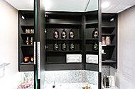 三面鏡の裏側や洗面化粧台の下部に、ティッシュスペースやダストパックハンガーを。下部にはヘルスメータースペースも確保。