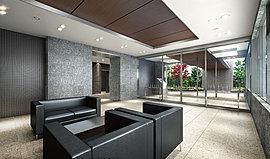 エントランスホールは、癒やしと語らいの空間。材質感を活かしたシンプルなデザインを基調として、自然光をたっぷり採り入れられるよう大きな開口を設け、伸びやかな空間を演出。柔らかな時間が流れる心地よい空間になりました。