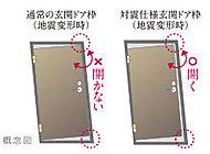 地震時に揺れによる建物の歪みに対応し、万が一の際にも開閉できるように配慮した対震ドア枠を採用しています。