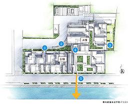 1緑の並木が導く、安心のアプローチ設計。2神田川や神楽坂の風情を継承する情感豊かなアプローチ。3都心の眺望を楽しむルーフバルコニー、戸建て感覚の専用庭も。4陽光あふれるB棟、落ち着きを重視したA棟の2棟構成。5光と開放感をもたらす、離隔。