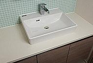 洗面室には陶磁器のスタイリッシュなオンボウル洗面化粧台と、鏡裏が収納になったミラーキャビネットを採用。洗練された空間をつくります。