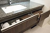 ヘアピンなどの散らかりがちな小物を、デッドスペースだったボウル下を利用してすっきり収納できます。